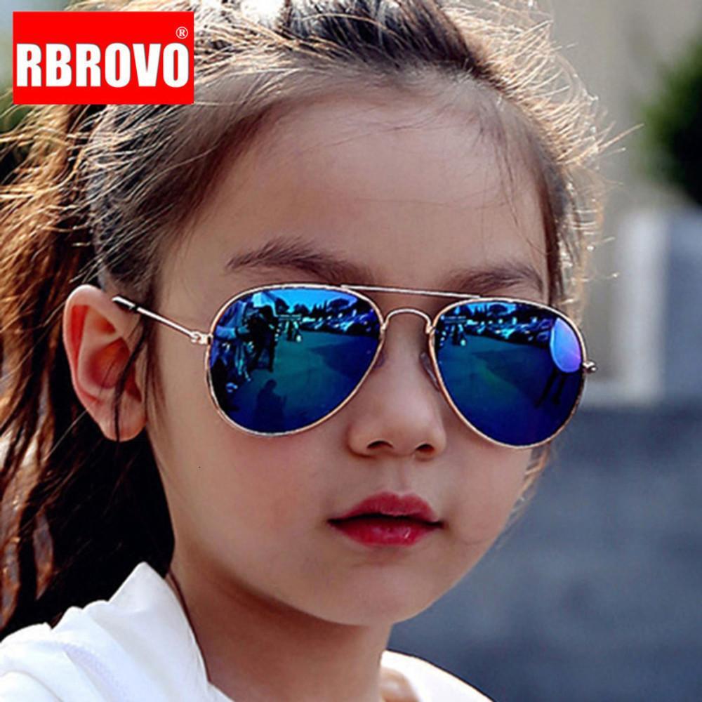Rbrovo 2020 Классические очки Девушки Красочные Зеркало детей очки рамки металла Дети Путешествия Шоппинг очки UV400 1557