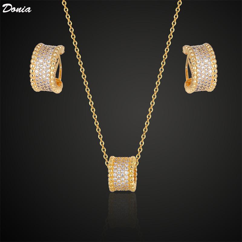 Donia дизайнер ювелирных изделий ювелирных изделия цилиндрической медь микро инкрустированного циркон ожерелье серьга роскошных два кусок набора аксессуаров