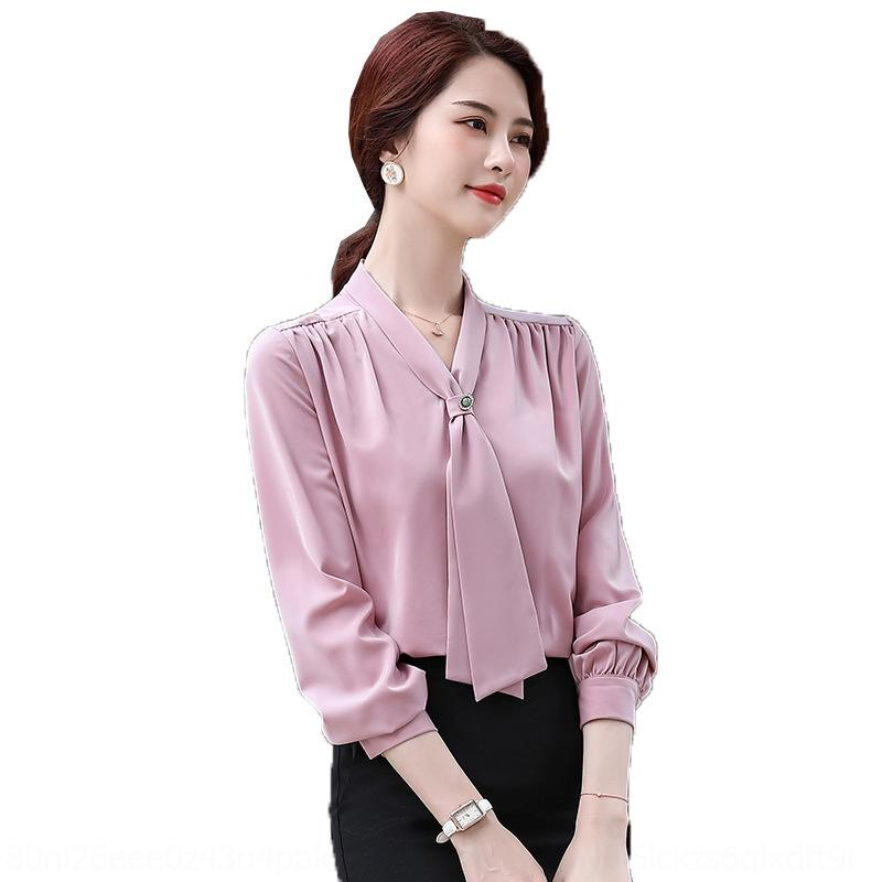 QxJbf xFRNM 2020 professional shirt fashion Top Western style chiffon bottoming shirt top white V-neck Autumn new for women