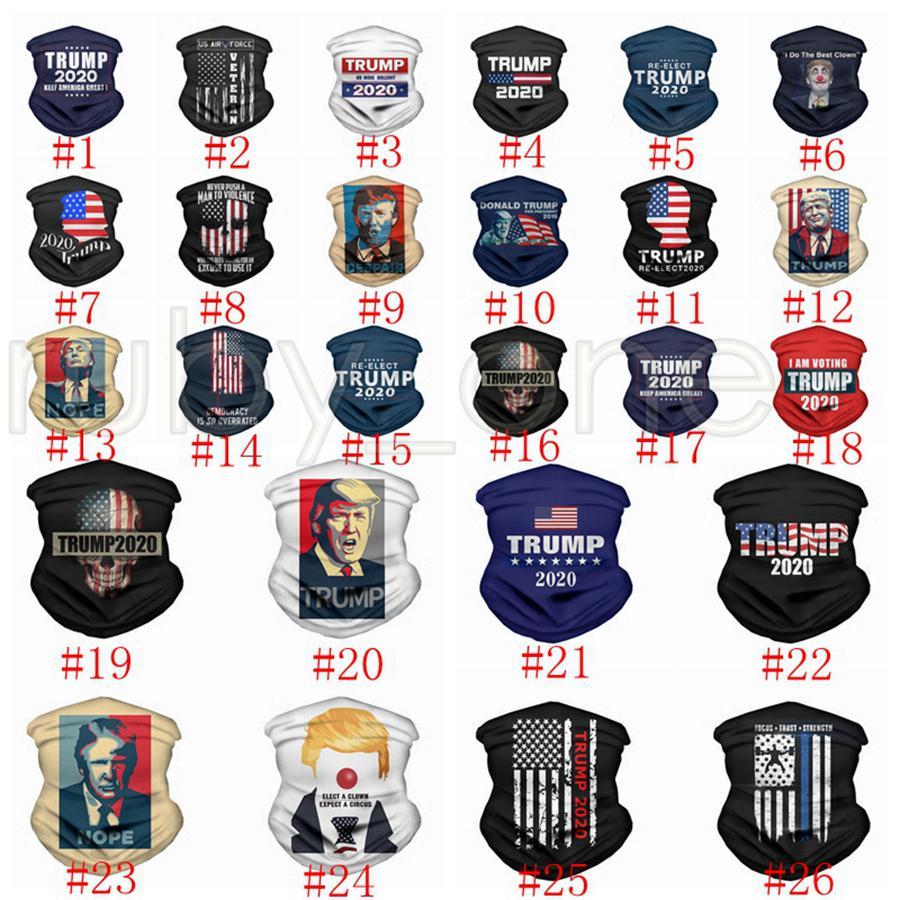 트럼프 매직 페이스 마스크 여성들의 머리 수건 착용 미국 대통령 트럼프 선거 두건 방진 야외 매직 자전거 스카프 모자 파티 마스크 RRA3483