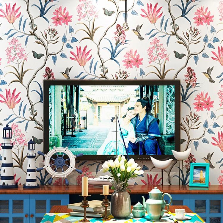 Carta da parati Retro Style Pastorale Americana di rilievo 3D Fiori carta non tessuta a parete per il salone TV Divano Sfondo della decorazione della parete