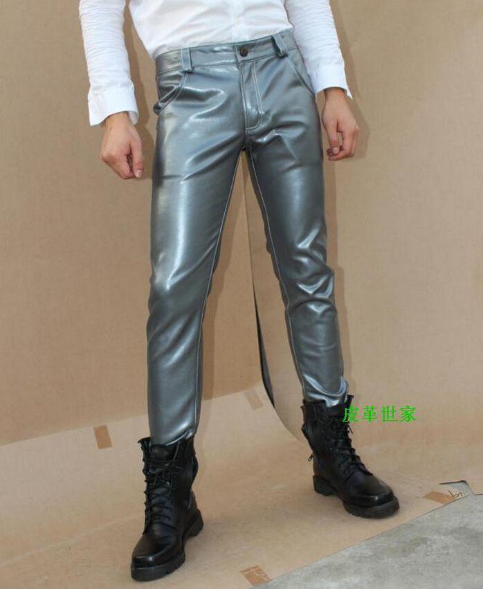 29-39! Erkek Casual Giyim İnce Boot Cut Jeans Siyah Gümüş Kırmızı Erkek Deri Pantolon Artı boyutu Pantolon Sahne Singer Kostümler