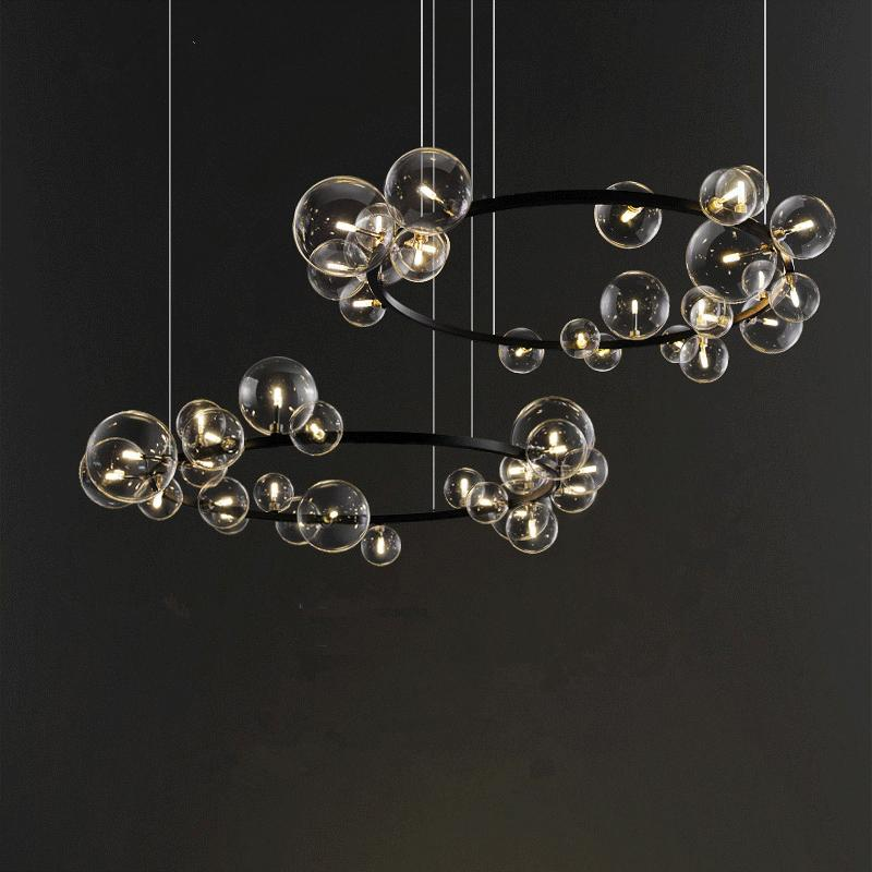 Nordic новинка стекла LED пузыря люстры современной столовой лампа спальни лампа простого дом гостиная люстра освещение