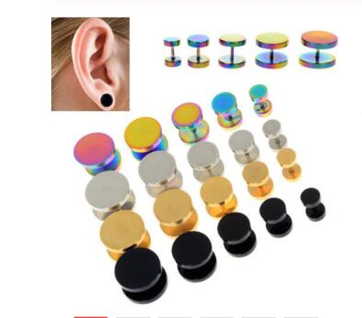 2pcs Ouro Preto Stainless Steel Cheater falso Falso Ear Plugs Flesh Tunnel Gauges Tapers Maca Brinco 6-14mm