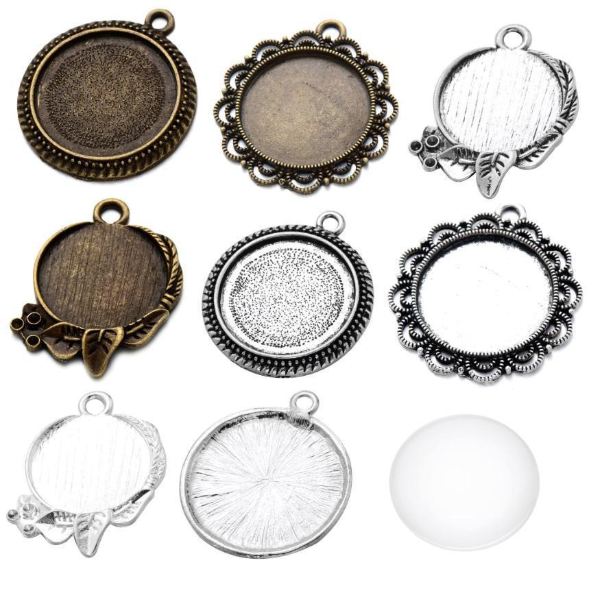 مجوهرات اكسسوارات DIY جولة القاع بين قوسين الوقت جوهرة التسامي فارغة نقل قلادة للهوت الطباعة قلادة