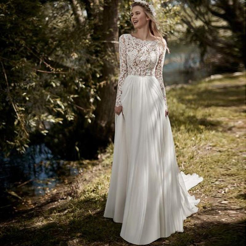 Maniche lunghe Boho abito da sposa 2019 chiffon Skirt Robe de mariée merletto dell'annata Nuovo abito da sposa Beach Wedding Gowns sweep treno