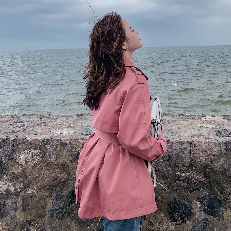 WINDBREAKER Coat ceket kadınlar için 2020 Sonbahar yeni gündelik kısa kruvaze bağcıklı bel küçük rüzgarlık