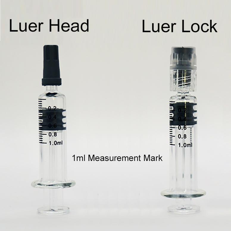 1ml pyrex 유리 주사기 루어 헤드 루어 잠금 장치 측정 마크 팁 빈 기화기 오일 vape 펜 100 / lot