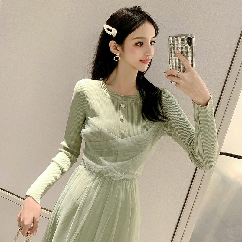 YkjeO robe 2020 nouveau style de fées automne taille haute sur le genou tricoté maille robe couture tempérament féminin USCCZ