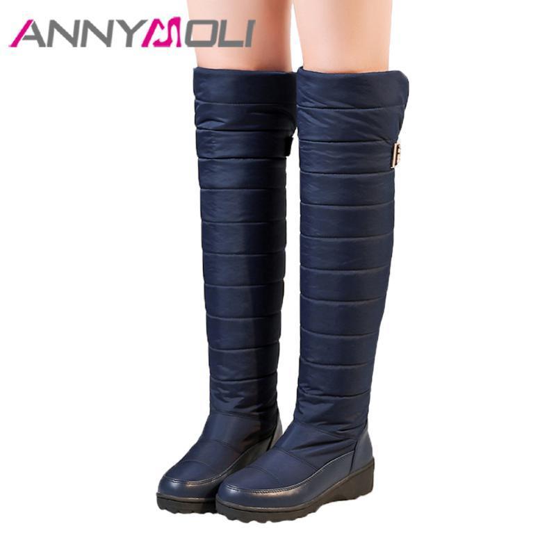 ANNYMOLI inverno sopra il ginocchio Stivali Donne Snow Boots alta della coscia fibbia Wedge Lady peluche scarpe alte Warm Nero Blu Taglia 44
