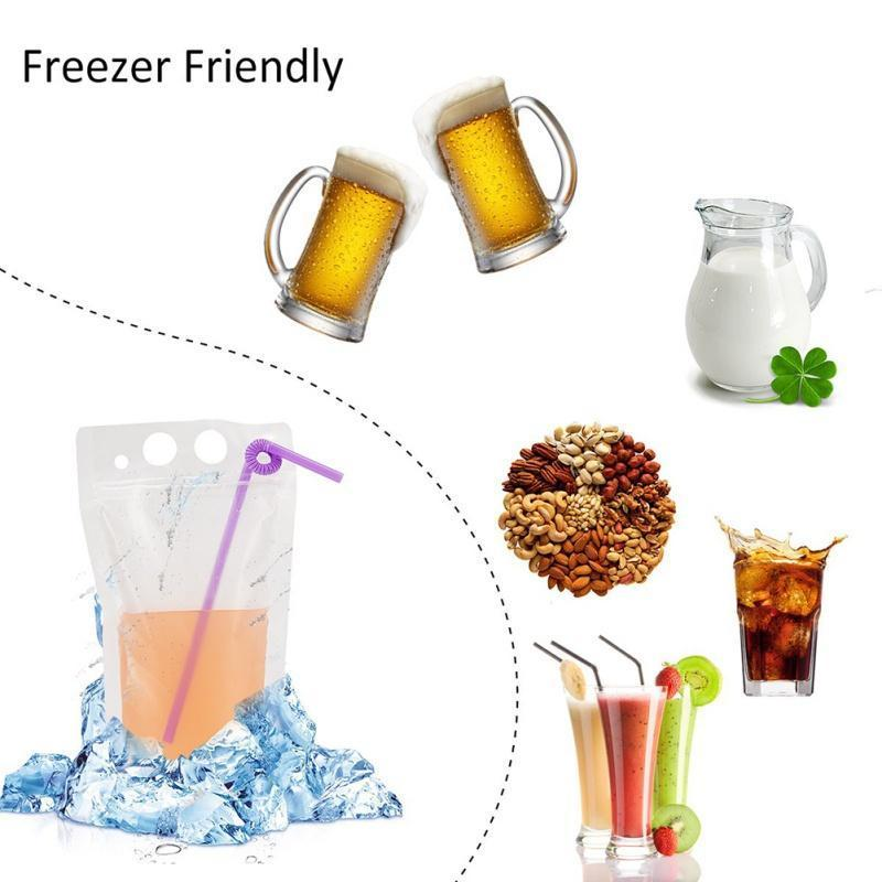 Pouchesholder Reclosable Bags frosted Zipper Stand-up Plastic Drinking Bag with straw with holder Reclosable Heat-Proof