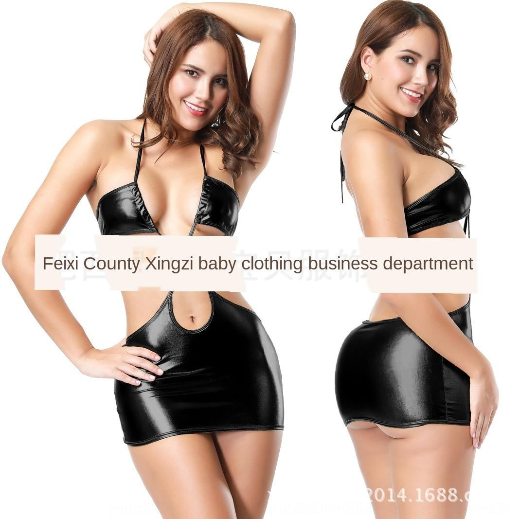V6w39 cuir robe sexy Sous-vêtements sous-vêtements ultra empaqueté avec de la peinture demulted dos nu sexy super robe courte 2015