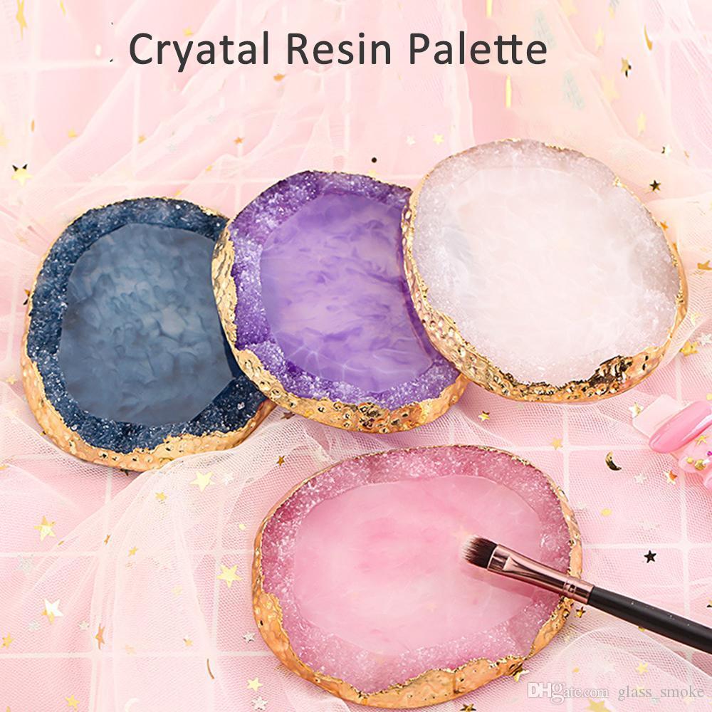 천연 수지 스톤 네일 아트 색상 표 아크릴 젤 폴란드어 홀더 그리기 색 접시 접착제 디스플레이 사진 도구 페인트