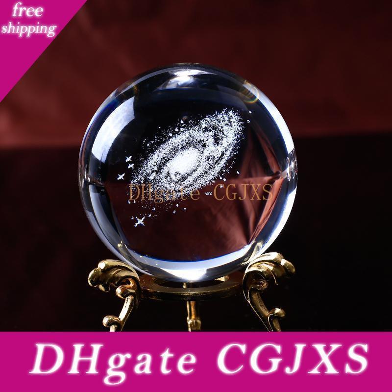 6cm Globe Galaxy Miniatures Boule de cristal 3d en verre gravé au laser à quartz Boule Sphère Décoration Accessoires Cadeaux