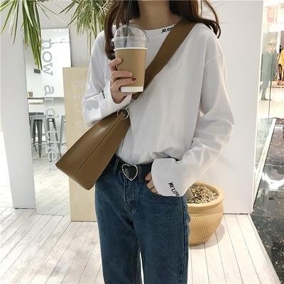 Wv46Y jUpty nuova maglietta a maniche lunghe vestiti superiori stile coreano bianco sciolto strano abbigliamento chic Hong Top T-shirt cappotto piccoli delle donne top Kong