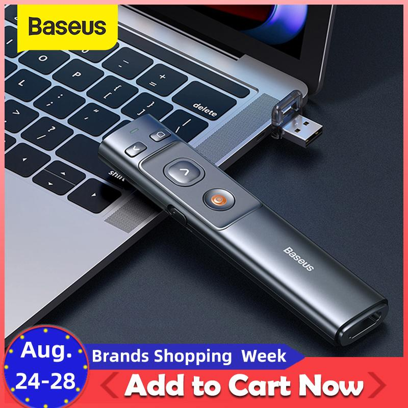 Baseus 2.4GHz Presenter Controle Remoto Red USB Controle Pen Para Mac Win 10 8 7 XP Projector PowerPoint PPT