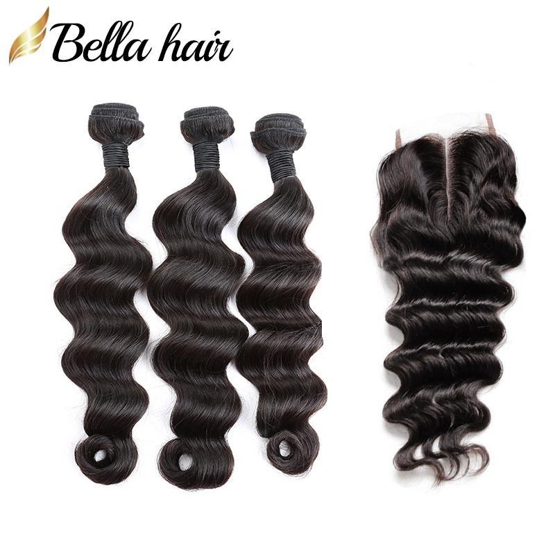 الهندي الإنسان الشعر اللحمات والإغلاق أعلى إغلاق الدانتيل الجزء الأوسط مع 3PIECES ملحقات الشعر فضفاض 4PCS العميقة / lot اللون الطبيعي Bellahair