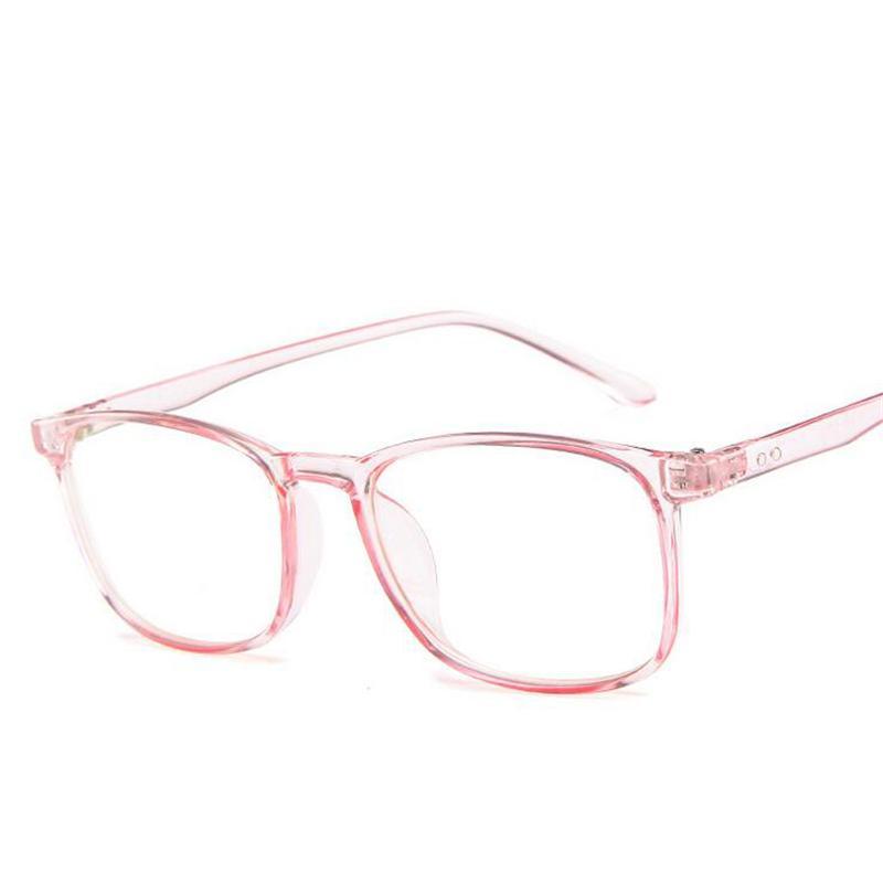 Transparent rosa Quadrat Computer-Glas-Rahmen für Unisex Kunststoff-freie Objektiv-Weinlese-Fälschungs-Brillen Frauen Männer