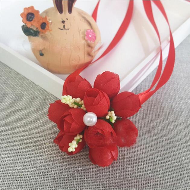 Новый дизайн Свадебной Свадебные украшения Свадебные цветы Искусственные цветы запястья корсаж Bridesmaid рук цветок запястье сестры цветок