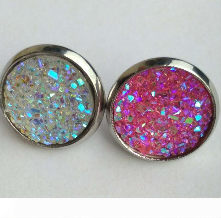 2020 Drop Shipping New haute qualité Pas Fade Bijoux originaux Stylisme femmes stud bijoux en pierre en acier inoxydable boucle d'oreille 12 couleurs