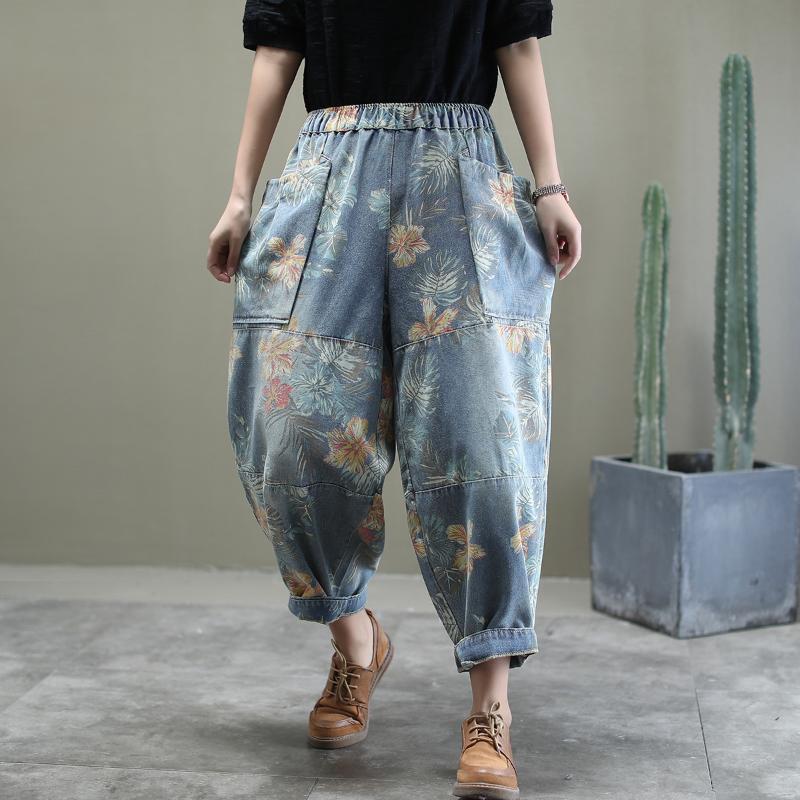 Цветочный печати Урожай женщина джинсы 2020 весна осень Упругие талии повседневные брюки Женщины джинсовые штаны Жан Плюс Размер XL SA347S30