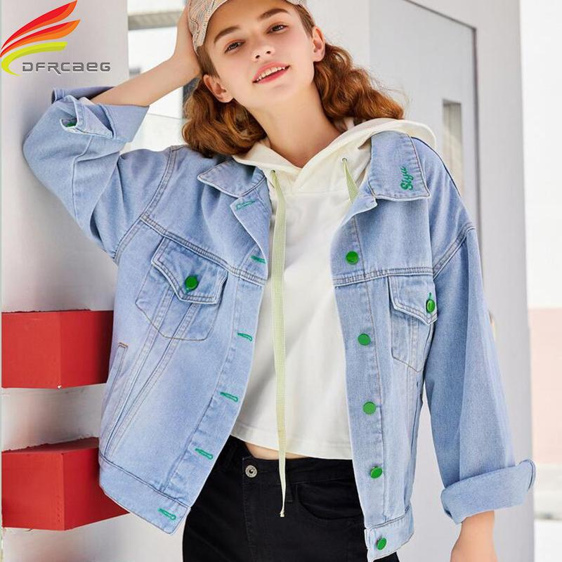 Spring Summer Denim Jacket Women 2020 New Single Green Buttons Embroidery Loose Jeans Jackets Street Wear Ladies Coats Hot Sale