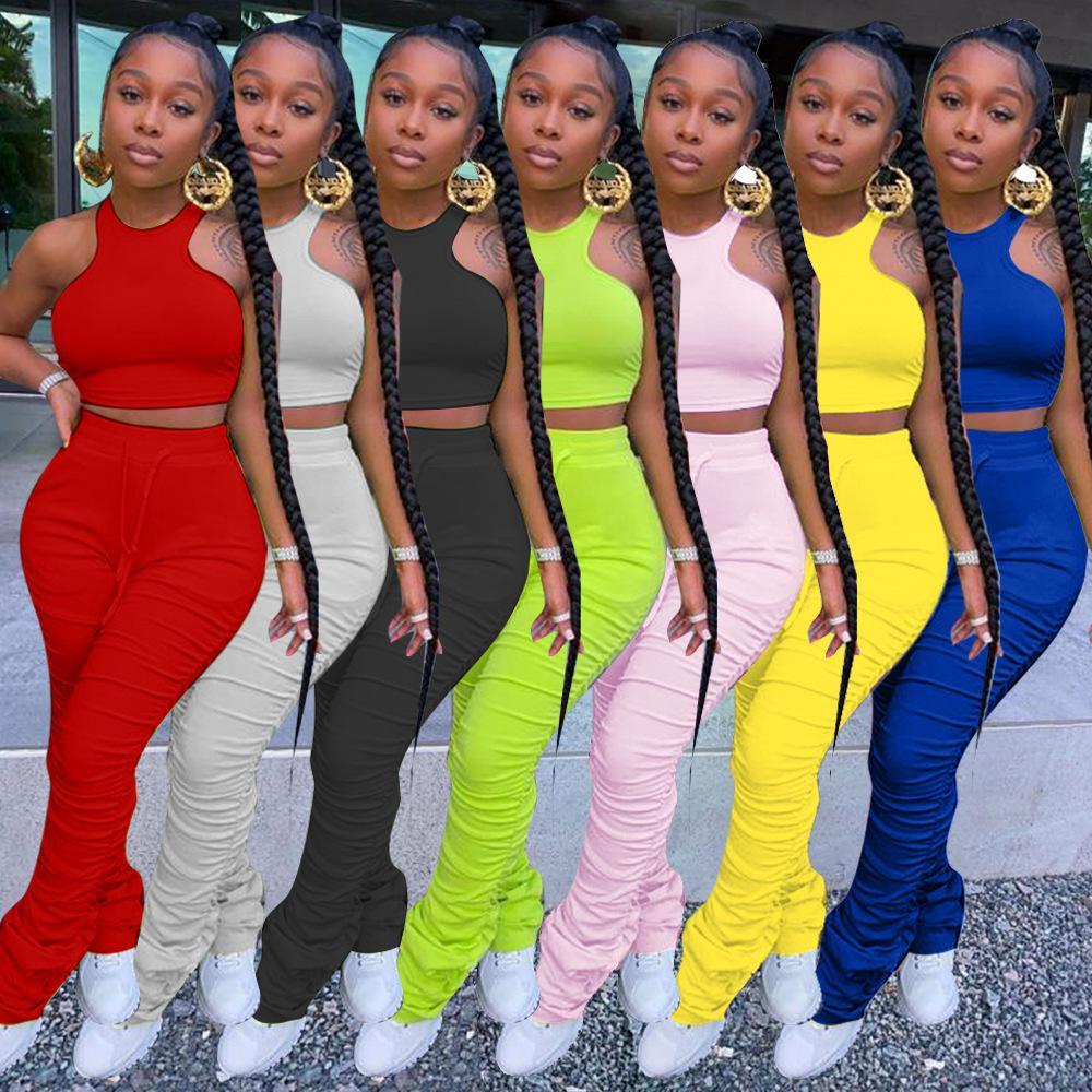 Otoño Las mujeres de dos piezas de ropa de diseñadores chándal Tops Traje Solid sport del color de las mujeres atractivas tirantes ropa de gran tamaño