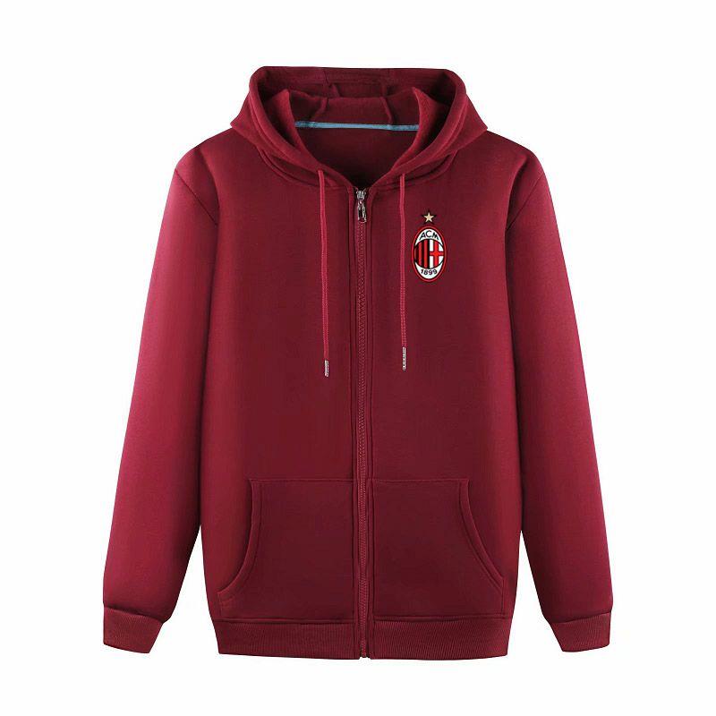 AC Milan 2020 trendy men's fashion casual lint outdoor sports loose jacket high-end zipper jacket hooded training football jacket