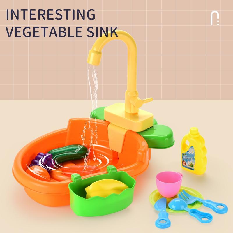 Kid Juguete lindo Interesante vegetales multifuncional fregadero Juego juguete de la casa cocina limpia Alimentación Taller de la niña