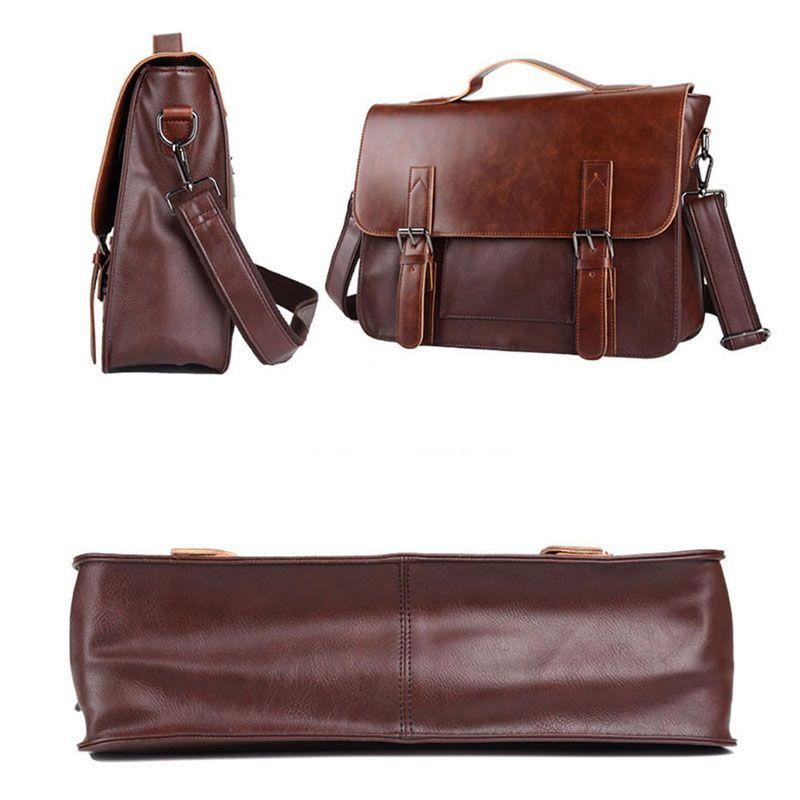 Couro Crazy Horse Artificial Negócios Bolsa Pastas Laptop para Men Casual Couro Homens Messenger Bag Bolsas de ombro Homem