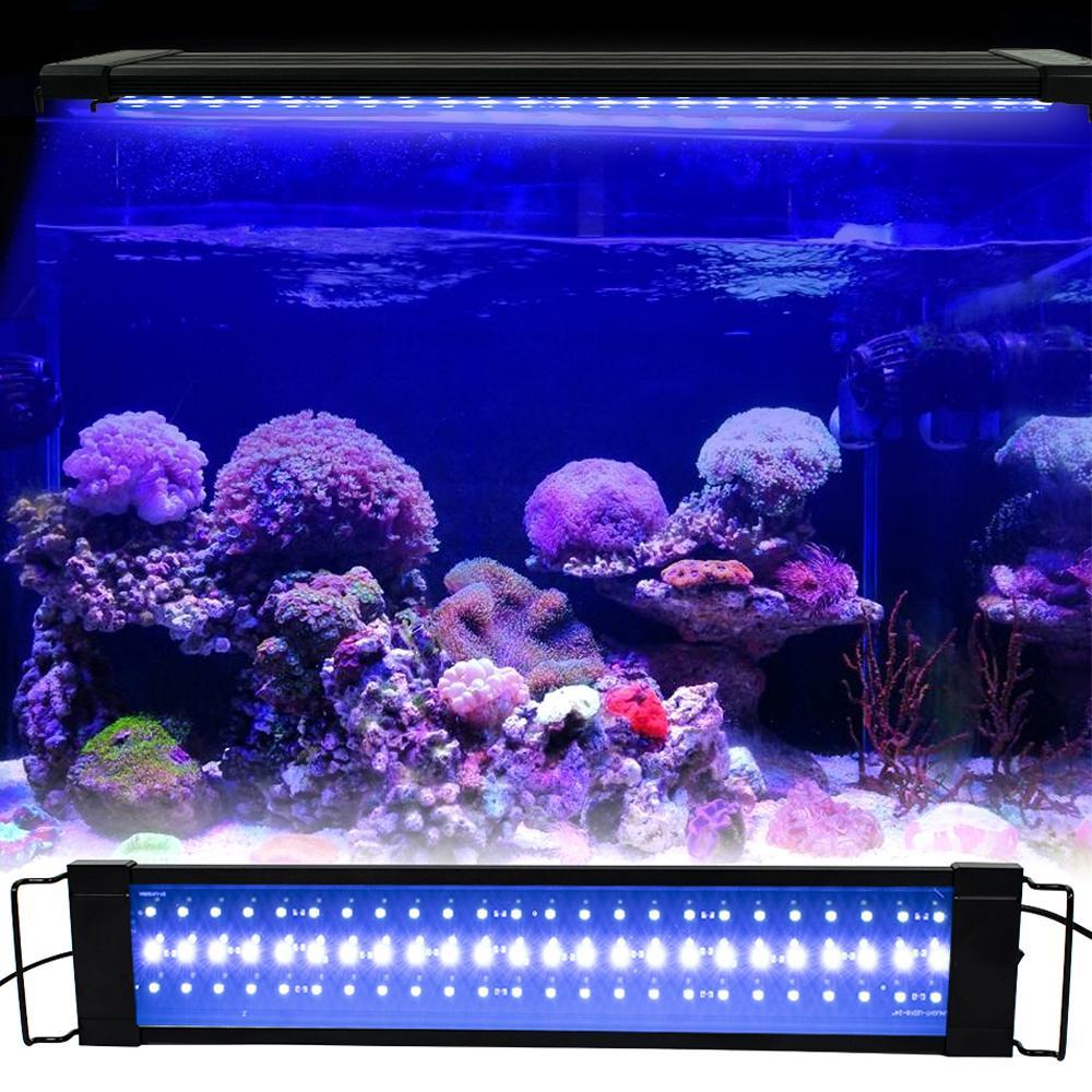 민물 고기 탱크 용 알루미늄 합금 쉘 확장 가능 브래킷 외부 컨트롤러와 32W 144LED 전체 스펙트럼 수족관 빛