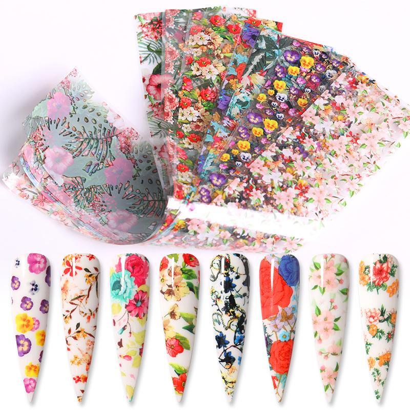 Eco-friendly10Pcs prego Foils Transferência Marble Nail Art Sticker Deslize Nail Art Flor do verão Decal borboleta Nails Acessórios 4 100 centímetros *