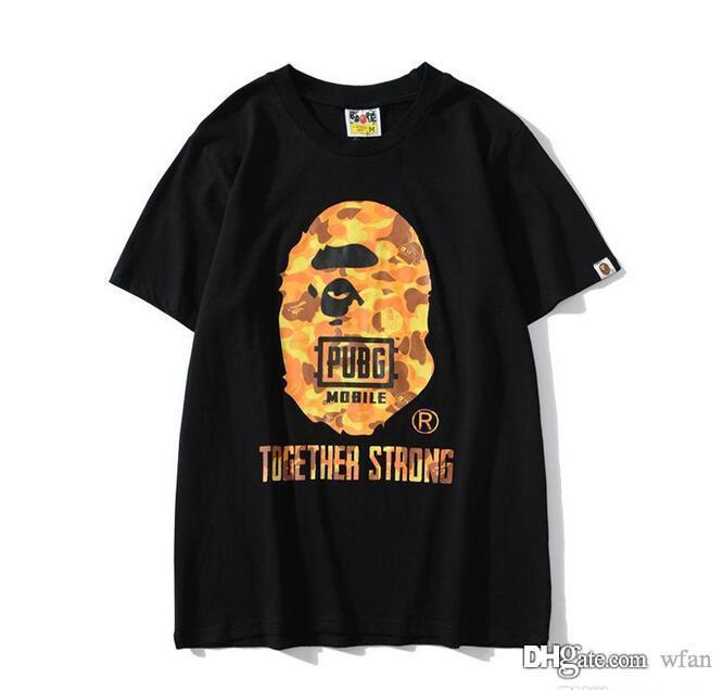 Casual Camo dos desenhos animados Laranja impressão soltas T-shirt dos homens do amante de manga curta de Hip Hop soltas T-shirt Tamanhos M-2XL