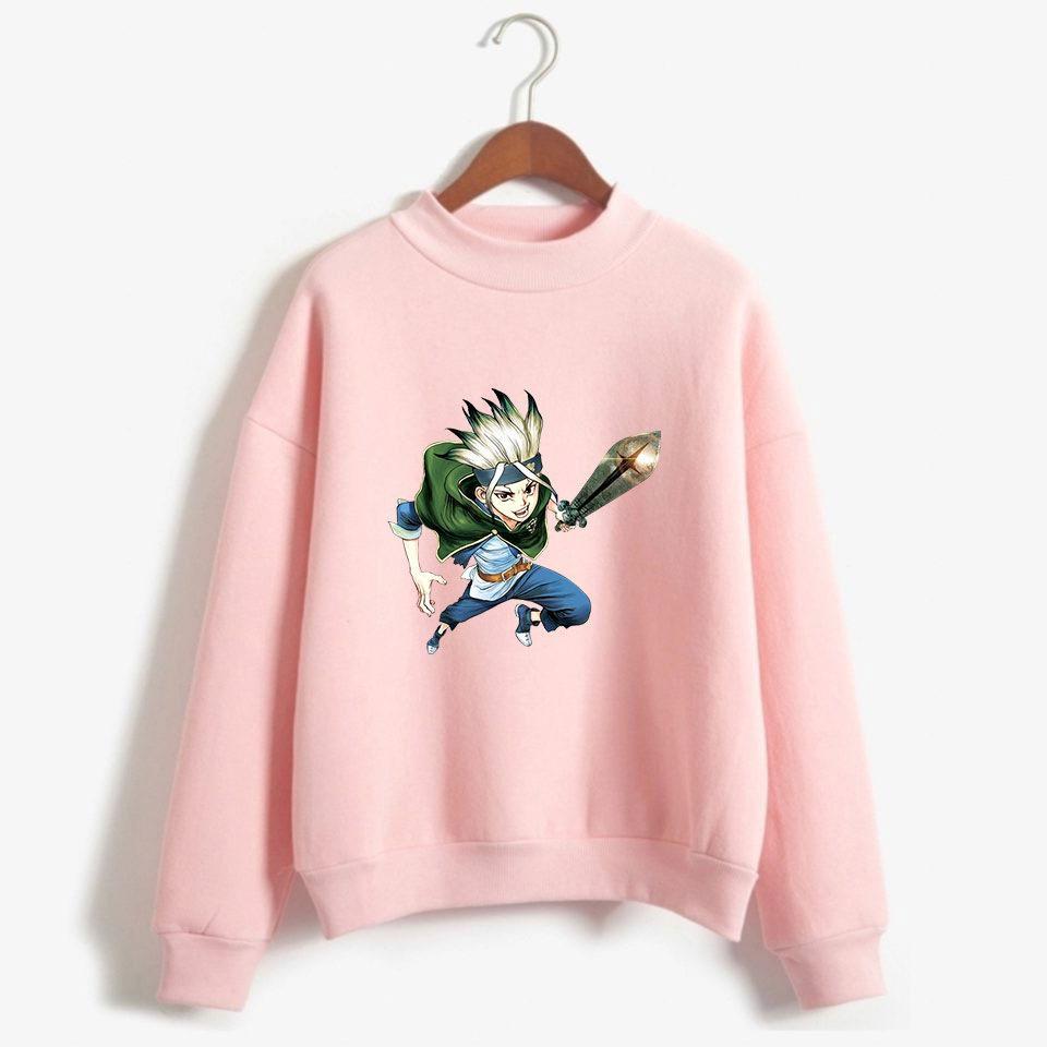 Anime Dr.STONE Ishigami Senkuu Hoodies Männer Langarm-Fleece Pullover mit Stehkragen Sweatshirt Moletom Masculino Harajuku Pullover Tops