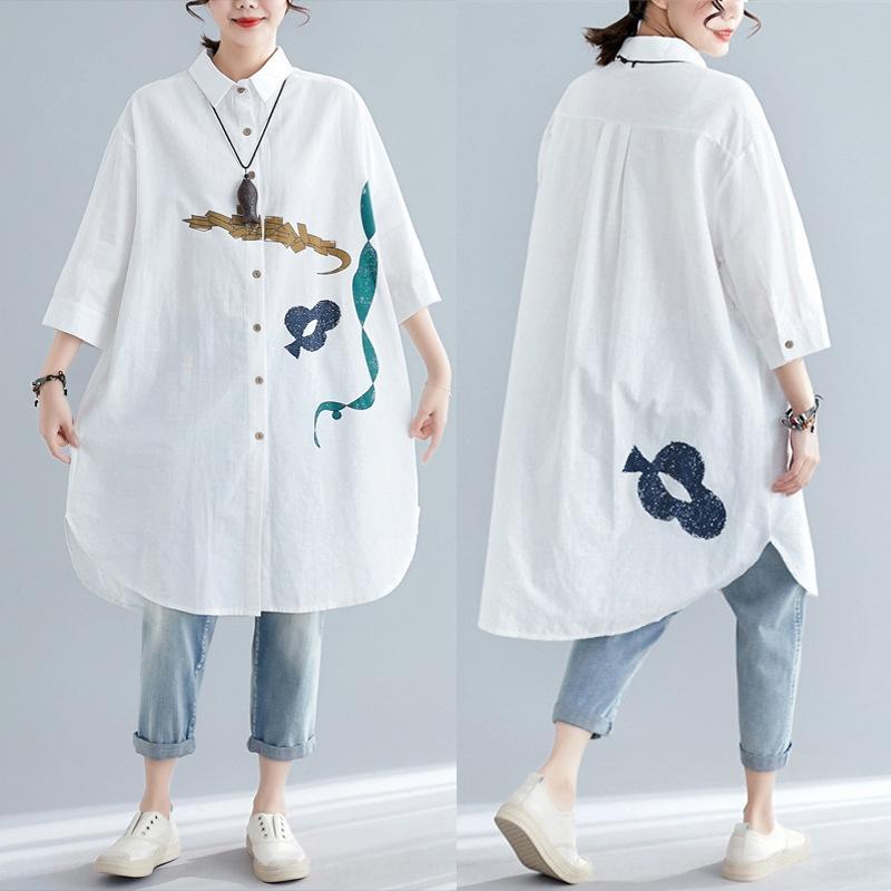 fI2lK Художественный свободный хлопок и лен абстрактного ситца и лен половина рукава рубашки Женской средней длина рубашка 2020 лета нового