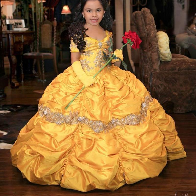 Бального платье желтого ретро Принцессы платье девушка цветка шнурок тафта Маленькая девочка Pageant платье 2020 малыши партия мантии