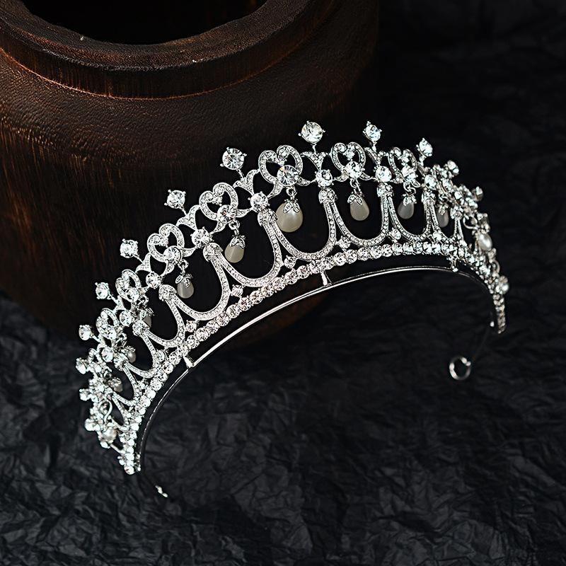 Kristal İnci Gelin Tiaras Diana Taç Barok Rhinestone Yarışması Diadem Gelin Kafa Tiara De Noiva Düğün Saç Aksesuarları