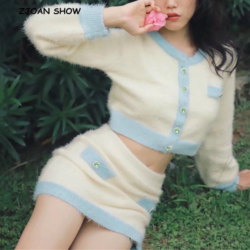 2019 Button Autunno Retro Shaggy colore di contrasto Cardigan Corea monopetto maglione lavorato a maglia pacchetto Fianchi Minigonna 1 Set T200820