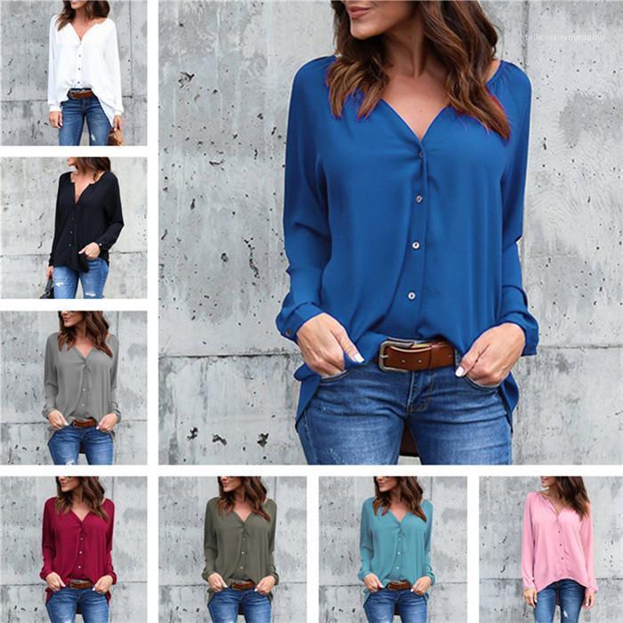 Farbe Langarm-Einreiher Shirt Damen Designer lose Top Frauen mit V-Ausschnitt Blusen beiläufige Fest