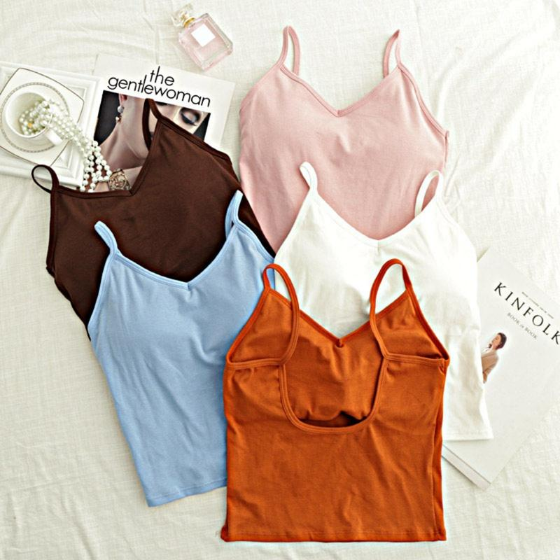 Camisoles & Tanks Women Sexy Casual Tank Vest Summer Bodycon Slim Crop Tops Padded Camis Female