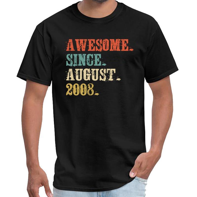Impreso impresionante Desde agosto de 2008, las mujeres de 10 años 10o cumpleaños teeshirt homme camiseta de rock más natural de tamaños s-5XL