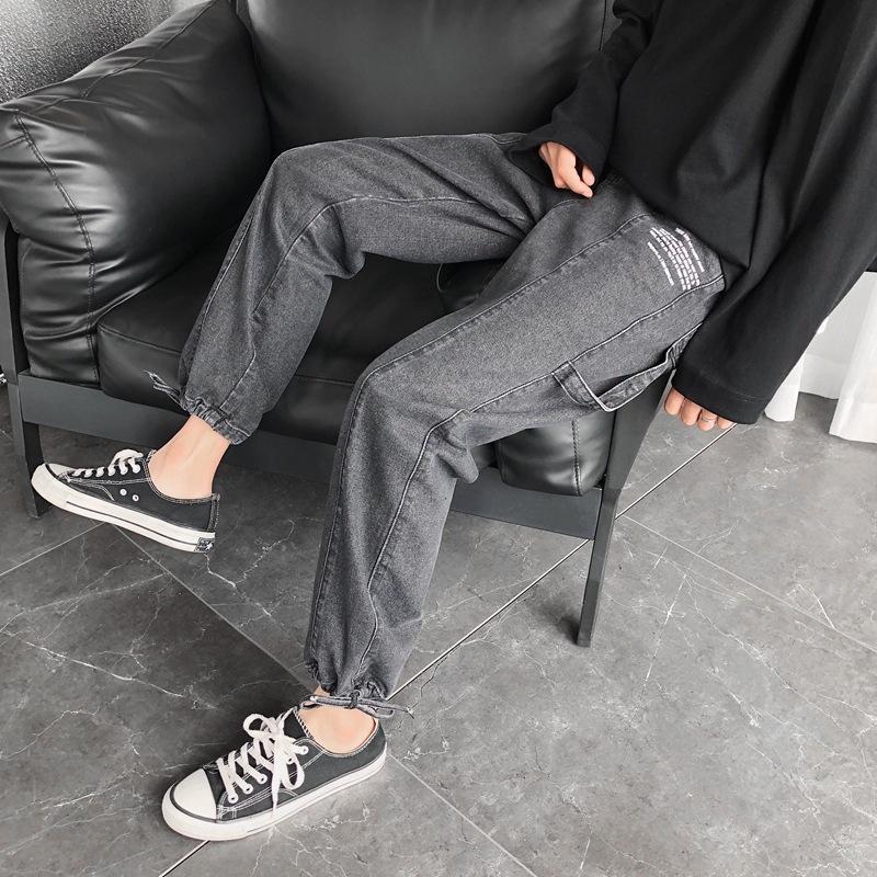 WpkZK erkek düz kot pantolon ve rahat ince yaz ve gevşek Harajuku kot gençlik erkek pantolon
