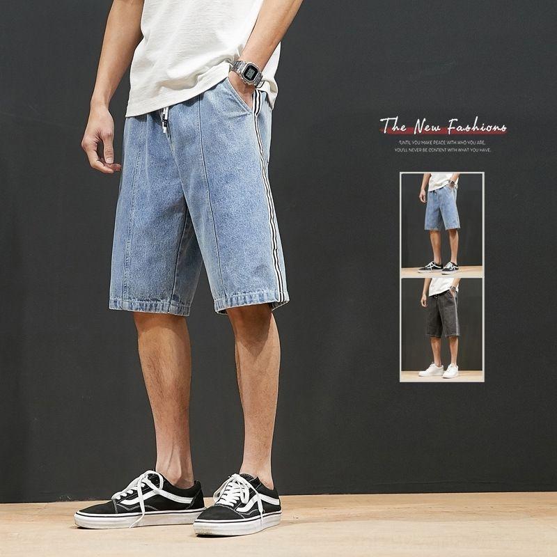 yxJhJ marque d'été de la mode masculine recadrée casual droit jean workwear pantalon lâche occasionnels ainsi que vêtements jeans taille, plus gras pantalon long travail