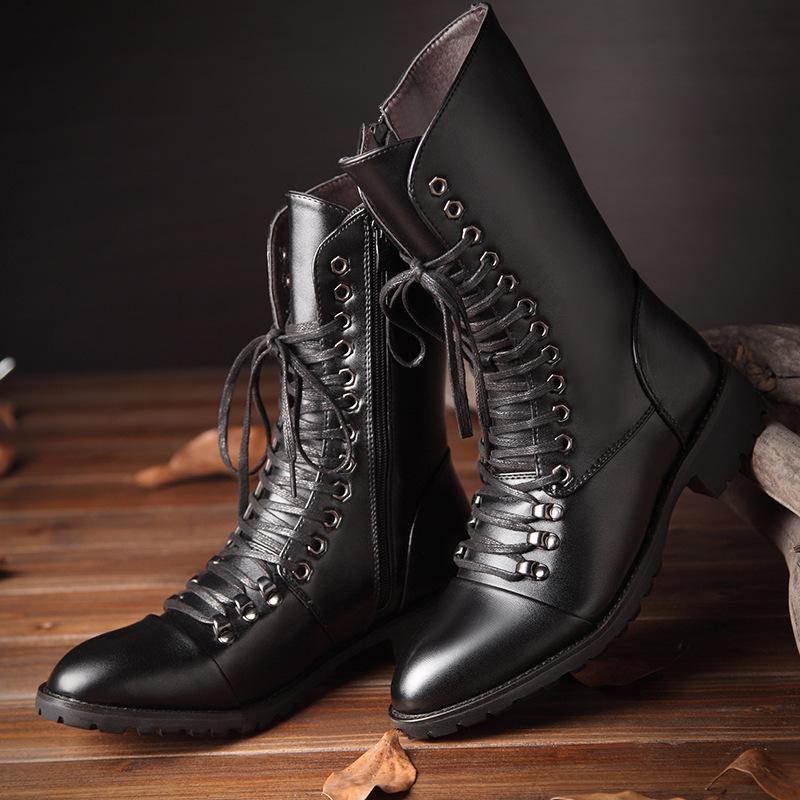 Boots Мужская повседневная ночной клуб платья длинная корова кожа осень зимняя обувь на шнуровке высокие загрузки Zapatos Botas Hombre Buty Meskie мужчина
