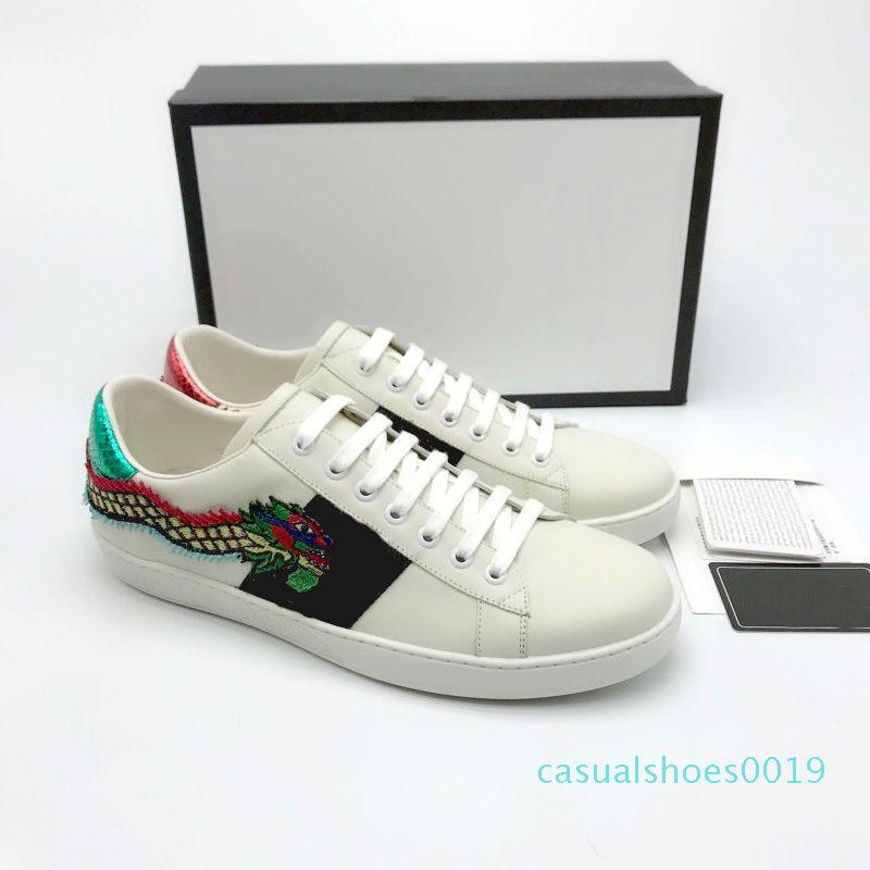 Ace Tasarımcı Ayakkabı çilek deri Casual Sneakers nakış arı, çiçek kaplanlar meyve ejderha Erkekler ve Kadınlar Sneakers Boyut US5-US 13 c19