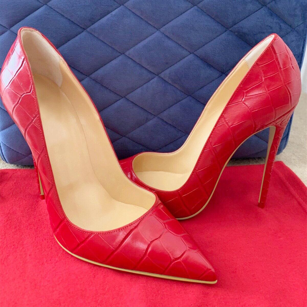 Ücretsiz nakliye moda kadın kırmızı pompalarının baskılı sivri burun stiletto yüksek topuklu sandalet ayakkabı çizme gelin düğün striptizci topuklar 12cm pompalar