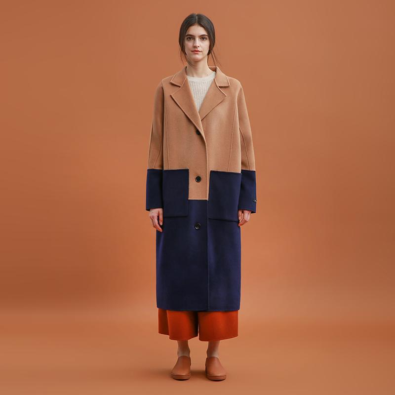 CH352 nuevas llegadas Invierno 2020 dos colores mosaico hecho a mano de lana de doble cara larga floja 100% de las mujeres abrigo de lana