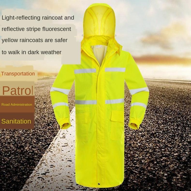 Outdoor un pezzo unico lungo degli uomini di moda adulti di e giallo fluo vittoria trench coat sicurezza pattuglia posta riflettente Della donna a vento