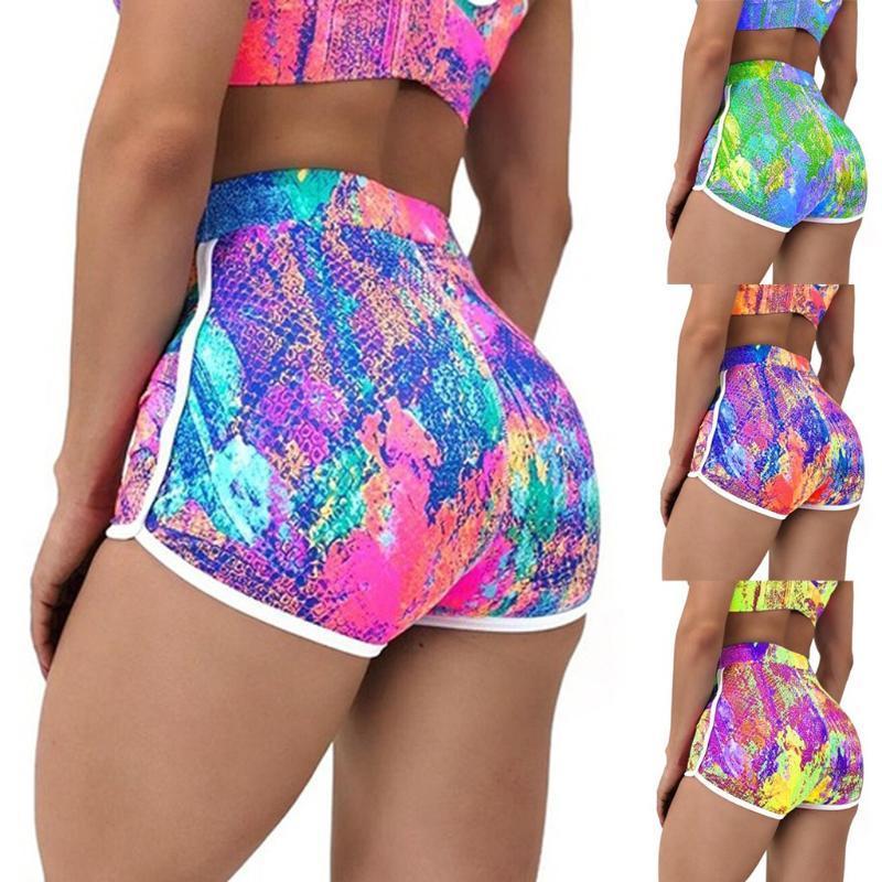 Frauen-Tie-Dye-Training Scrunch BuLeggings Sommer mit hohen Taille Booty Yoga Laufhose Leggings Kurz Sport Femme31