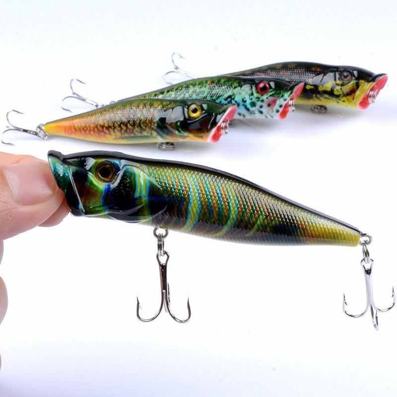 4pcs / Lot 9.5cm / 12g atraer a la pesca Bass Set Pike trucha cebo duro artificial wobblers agua dulce pesca de agua salada moldeada Bionic Popper Conjunto Lure